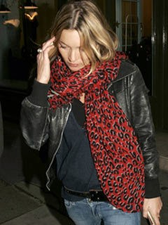 Kate Moss, Oasis black leather jacket, Asos red leopard print scarf
