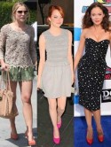 Kristen Bell, Emma Stone and Rose McGowan work colour clash courts