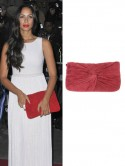 X Factor star Leona Lewis's berry red clutch