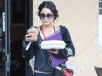 Vanessa Hudgens sports messy hair as she grabs some fast food in LA
