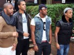 JLS are greeted by fans at Birmingham's Heart FM radio station