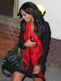 The Saturdays' Rochelle Wiseman accessorises with a printed skull scarf