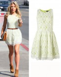 EXACT MATCH The Saturdays' Mollie King wears pretty lace Topshop dress in LA
