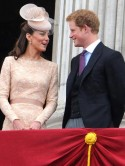 Prince Harry shares a joke with sister-in-law Kate Middleton on Buckingham Palace balcony
