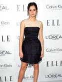 Emma Watson looks stunning in nude and black classic shift dress