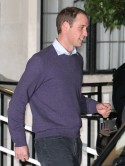 Prince William smiles after visiting pregnant wife Kate Middleton at London hospital