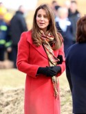 Pregnant Kate Middleton dresses baby bump in hot red Armani coat in Scotland with Prince William