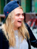 Cara Delevingne is pictured without make-up in New York