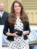Pregnant Kate Middleton rocks dotty Topshop dress for Harry Potter set visit with Prince William