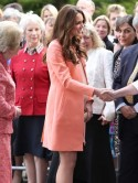Pregnant Kate Middleton picks pretty peach dress for hospice visit on wedding anniversary without Prince William