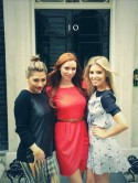 The Saturdays pop by 10 Downing Street without pregnant Frankie Sandford and new mum Rochelle Wiseman