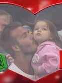Cute! David Beckham kisses daughter Harper Seven on Kiss Cam camera at ice hockey game