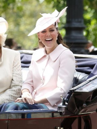 Pregnant Kate Middleton dresses baby bump in pastel pink at Trooping The Colour parade with Prince William
